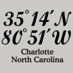 T-Shirts with imprinted coordinates of Charlotte, North Carolina
