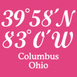 T-Shirts with imprinted coordinates of Columbus, Ohio