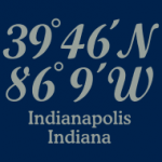 T-shirts with imprinted coordinates of Indianapolis, Indiana