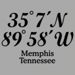 T-shirts with imprinted coordinates of memphis, Tennessee